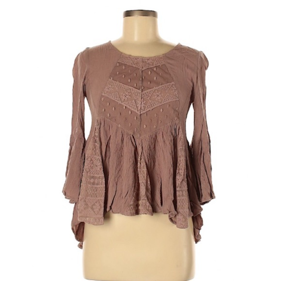 Altar'd State Tops - Brown boho chic 3/4 blouse